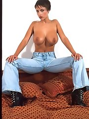 Super hot lady with natural big boobs in blue jeans